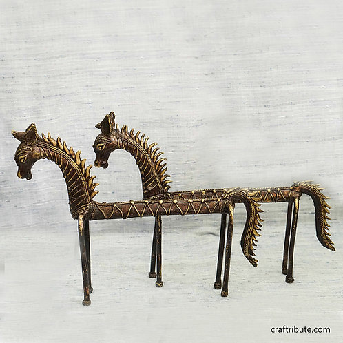 Dhokra Slender Horse Pair