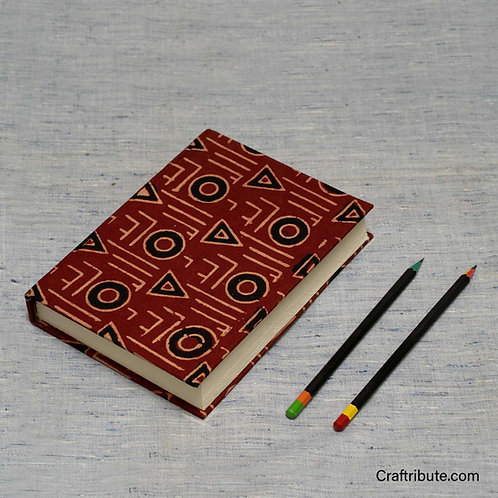 Handmade Paper Notebook - Red (Triangles & Circles)
