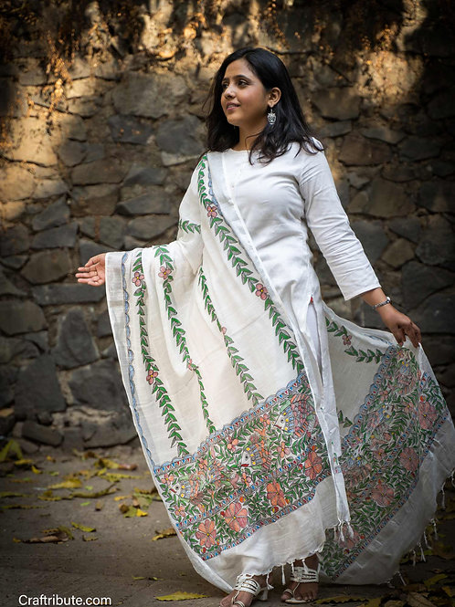 Madhubani Cotton Dupatta with Bel Design