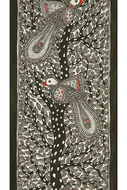 Madhubani Painting -Peacocks and a Tree