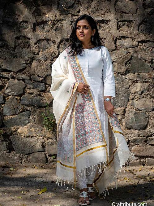 Madhubani Kerala Silk Dupatta