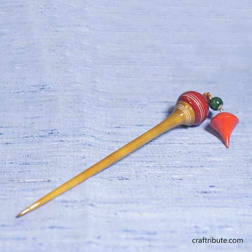 Wooden Bun Hair Stick (Juda Stick) with tassels