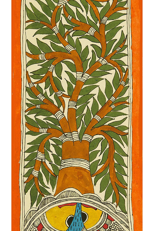 Madhubani - Tree (Brown & Green)