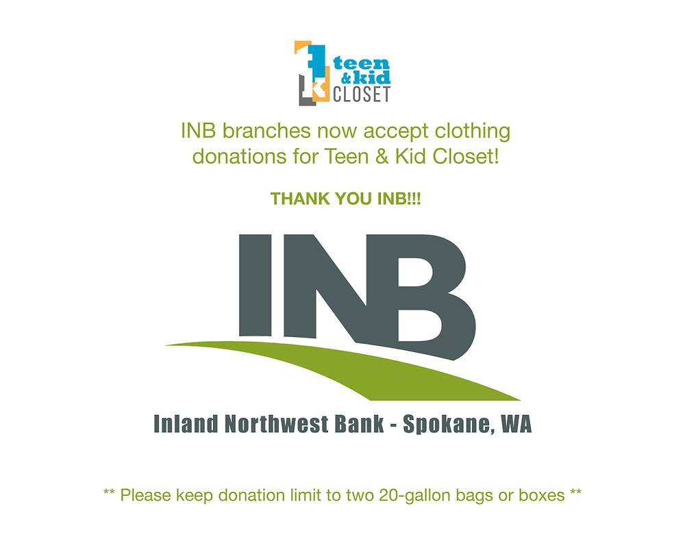 Graphic about INB accepting clothing donations