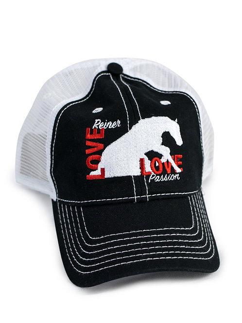 Reining Horse Love embroidered on black/white trucker baseball cap/hat