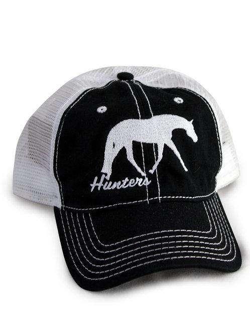 Hunt Seat Horse embroidered on black/white trucker baseball cap/hat