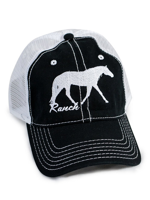 Ranch Horse embroidered on black/white trucker baseball cap/hat