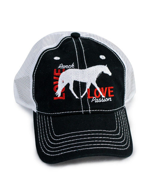 Ranch Horse Love on embroidered on black white trucker baseball cap hat  with white stitching. 100% Cotton Front 100% Polyester Back Unstructured  Soft Crown 67af81fae304