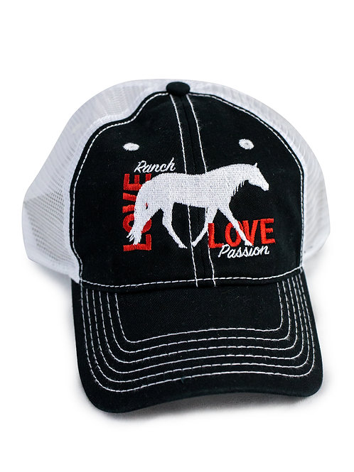 Ranch Horse Love embroidered on black/white trucker baseball cap/hat