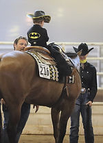 Little boy on show horse wearing a batman shirt