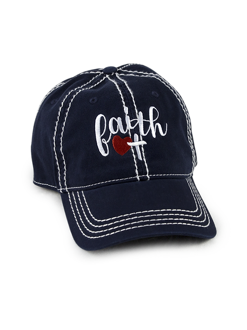 "Christian script ""Faith"" on navy low profile, dad hat, baseball hat"