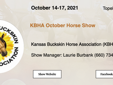 October 14-17 Approved Horse Show in Topeka, KS