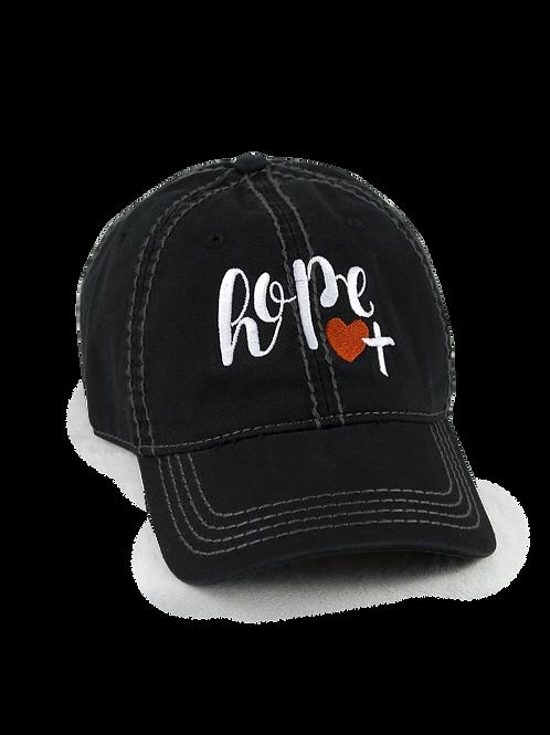 "Christian script ""Hope"" on black low profile, dad hat, baseball hat"