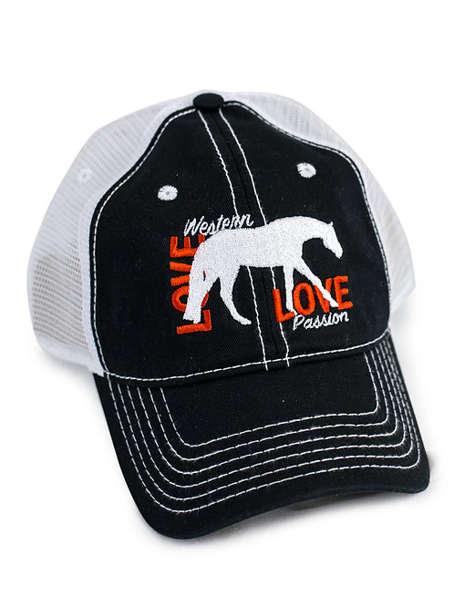 Western Pleasure Horse Love , black/white trucker baseball cap/hat