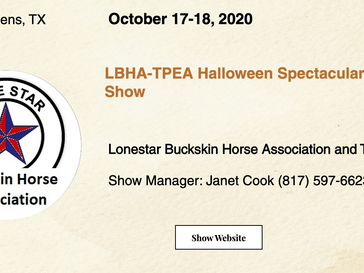 Good Luck to the LBHA-TPEA Halloween Spectacular Horse Show Exhibitors!