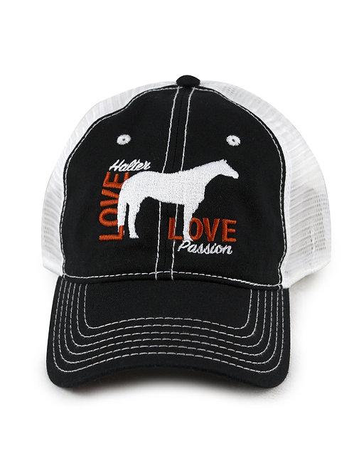 Halter Horse Love embroidered on black/white trucker baseball cap/hat