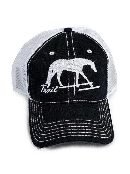 Trail Horse embroidered on black/white trucker baseball cap/hat