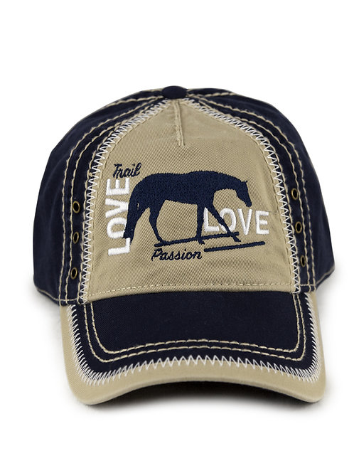Trail Horse Love embroidered on navy/khaki vintage looking baseball cap/hat