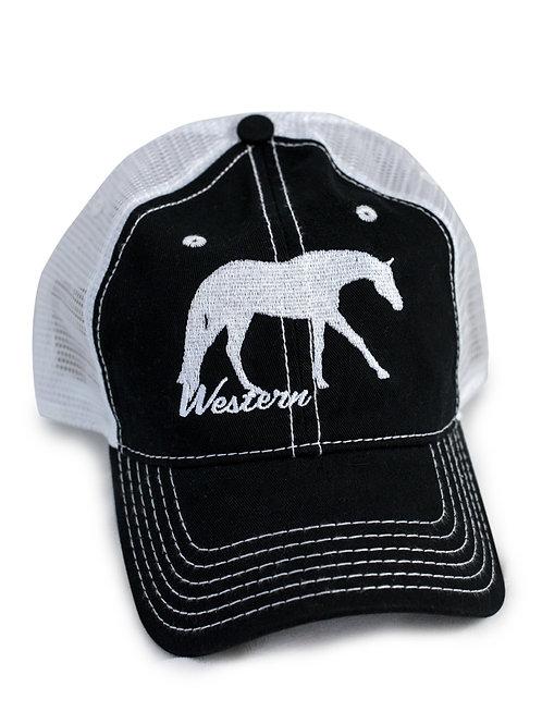 Western Pleasure Horse, black/white trucker baseball cap/hat, white stiching