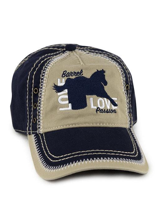 Barrel Horse Love on navy/khaki vintage looking baseball cap/hat