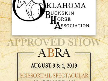 Scissortail Spectacular ABRA Approved Show Aug 3 & 4 in OK