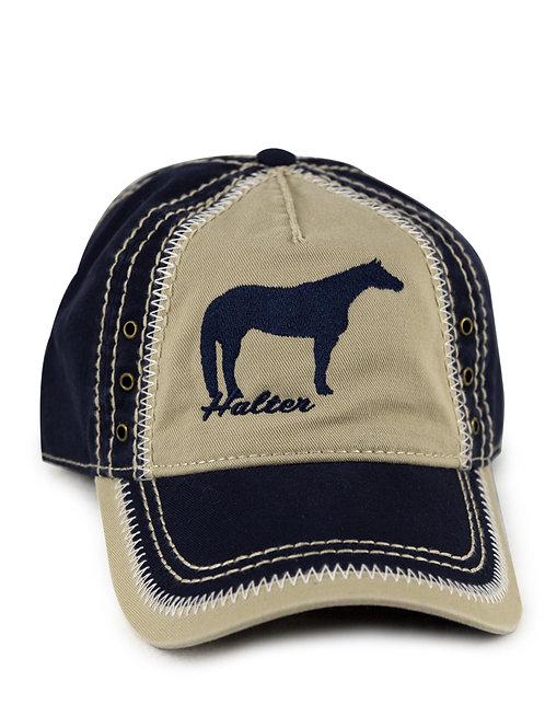 Halter Horse embroidered on navy/khaki vintage looking baseball cap/hat