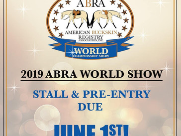 World Show Pre-Entries and Stall reservations due June!