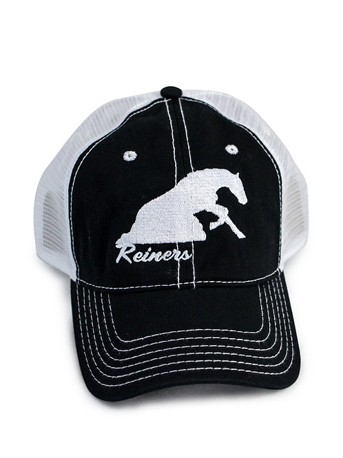 Reining Horse embroidered on black/white trucker baseball cap/hat