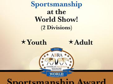 New World Show Sportsmanship Award!