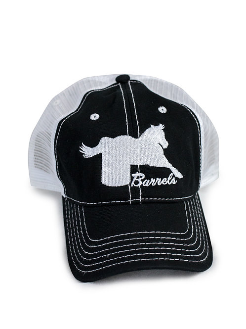 Barrel Horse embroidered on black/white trucker baseball cap/hat