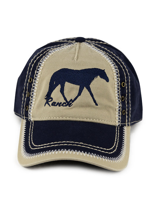 Ranch Horse embroidered on navy/khaki vintage looking baseball cap/hat
