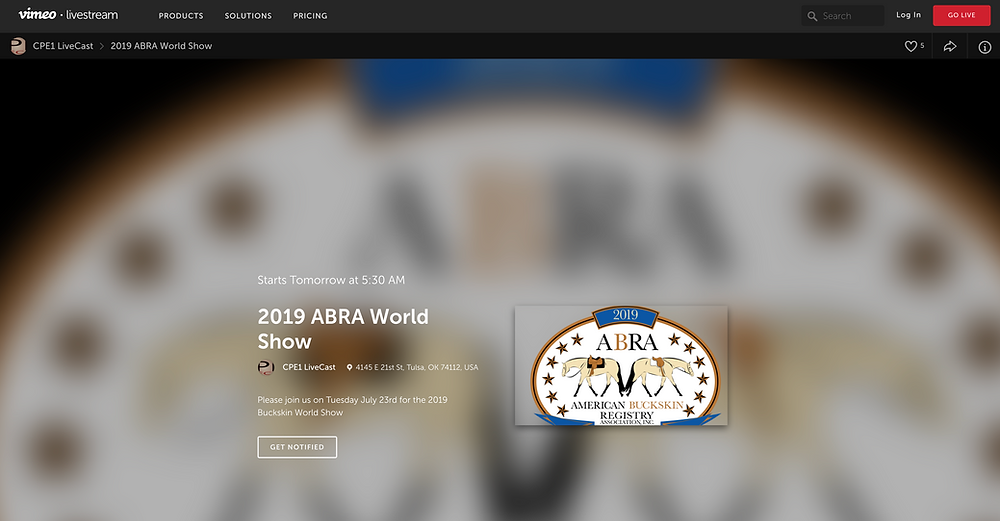 screenshot of World show Livestream webpage