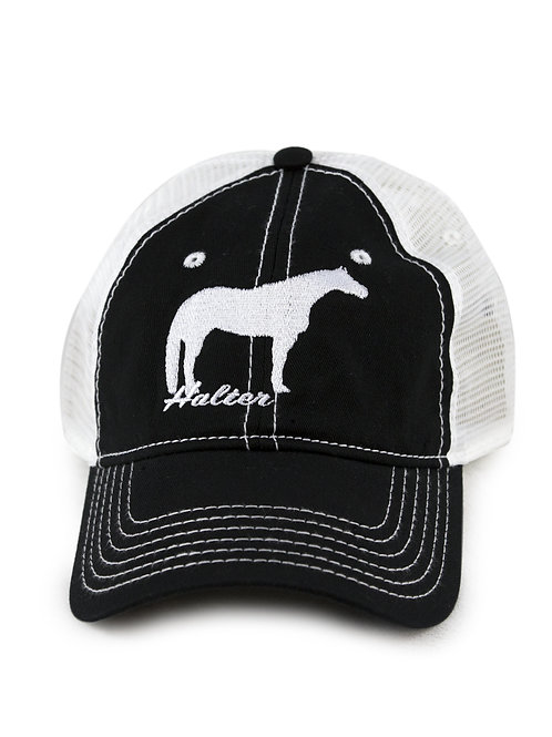 Halter Horse embroidered on black/white trucker baseball cap/hat