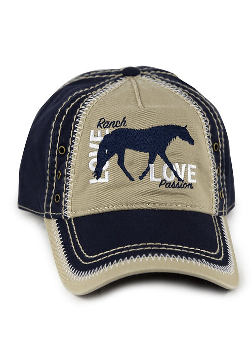 Ranch Horse Love embroidered on navy/khaki vintage looking baseball cap/hat