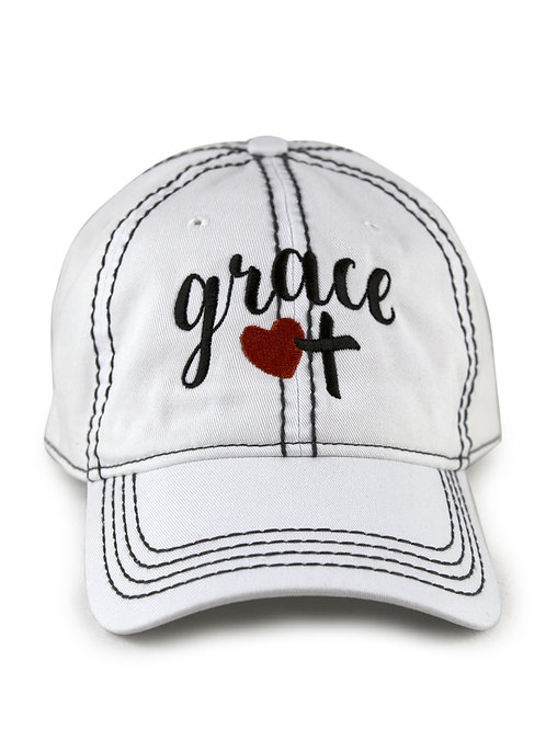 "Christian script ""Grace"" on white low profile, dad hat, baseball hat"
