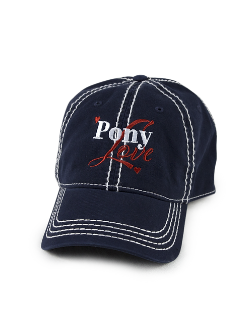 Pony Love on navy low profile, dad hat, baseball hat