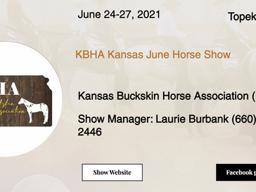 June 24-27 Approved Horse Show in Topeka, KS