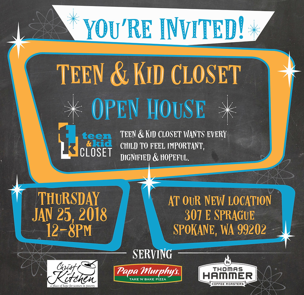 Graphic about Teen & Kid Closet open house
