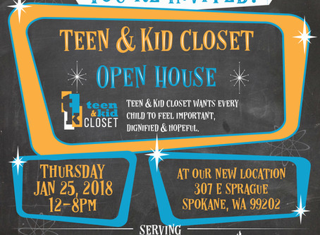 You're Invited! Teen & Kid Closet Open House Jan 25th, 12-8pm