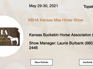 May 29-30 Approved Horse Show in Topeka, KS