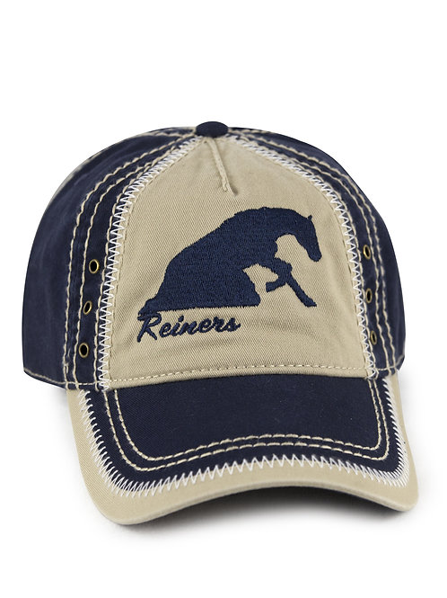 Reining Horse embroidered on navy/khaki vintage looking baseball cap/hat