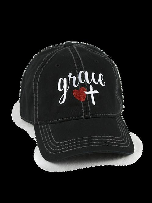 "Christian script ""Grace"" on black low profile, dad hat, baseball hat"