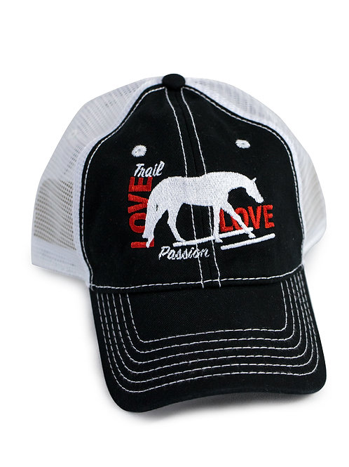 Trail Horse Love embroidered on black/white trucker baseball cap/hat