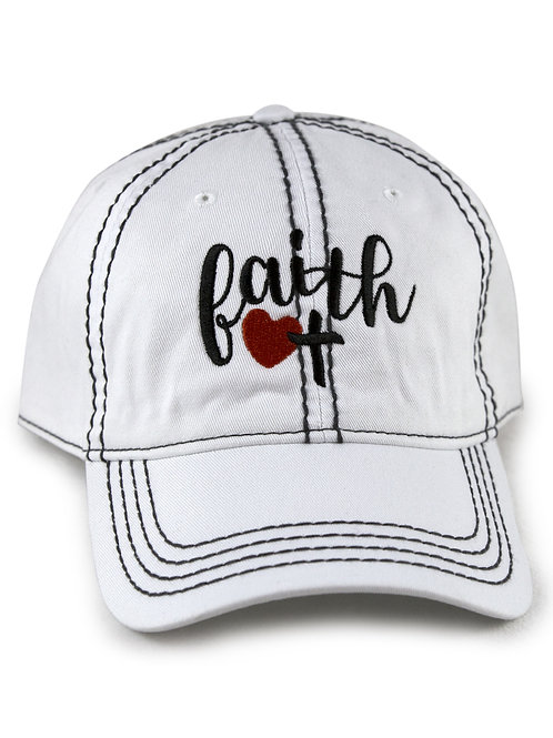 "Christian script ""Faith"" on white low profile, dad hat, baseball hat"