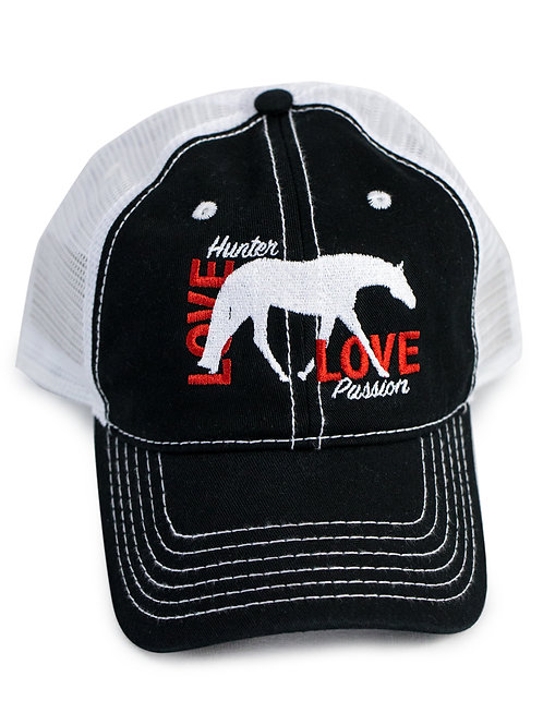 Hunt Seat Horse Love embroidered on black/white trucker baseball cap/hat