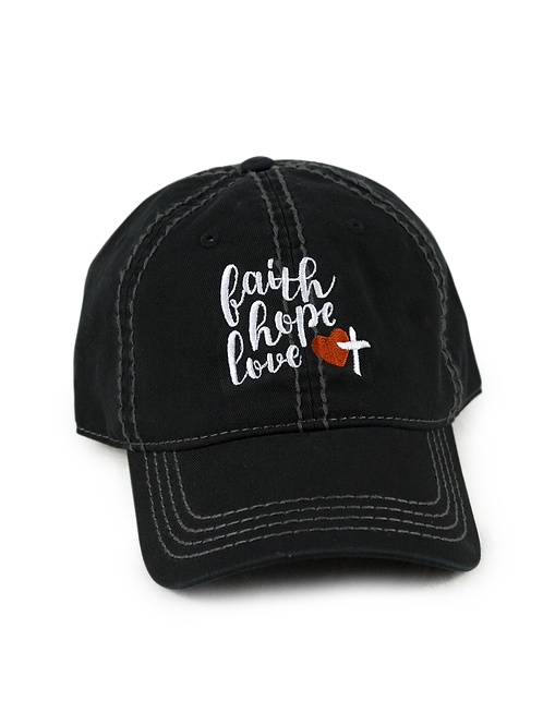 "Christian script ""Faith, Hope, Love"" on black low profile, dad hat, baseball hat"