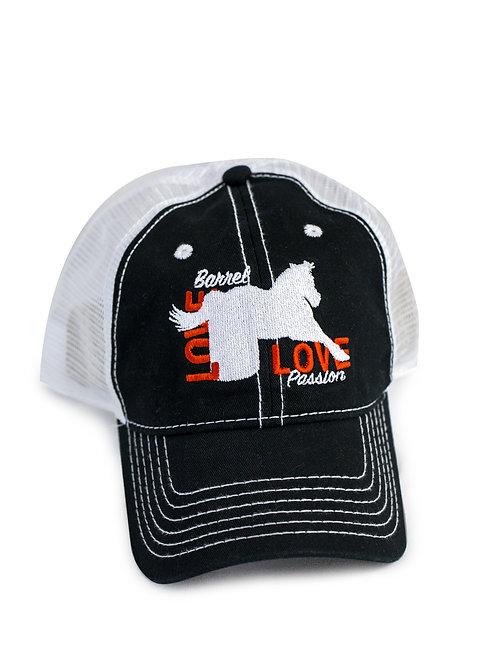 Barrel Horse Love embroidered on black/white trucker baseball cap/hat