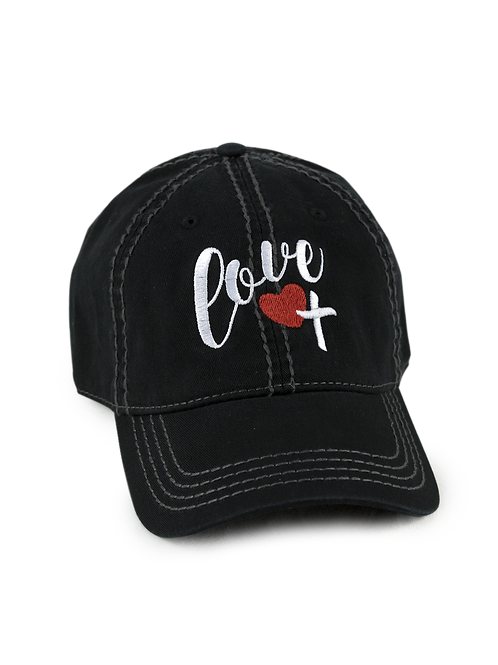 "Christian script ""Love"" on black low profile, dad hat, baseball hat"