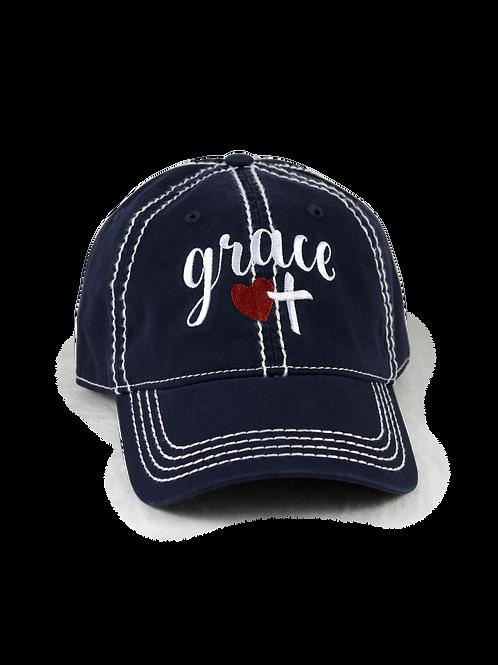 "Christian script ""Grace"" on navy low profile, dad hat, baseball hat"