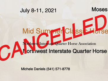 CANCELLED July 8-11 Approved Show in Moses Lake, WA